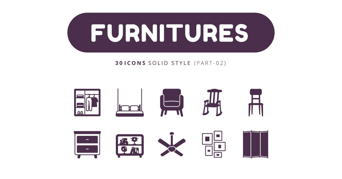 Download 30 Icons Furnitures Part-02 Solid Style by Victoruler