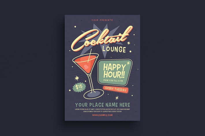 Thumbnail for Retro Cocktail Event Flyer