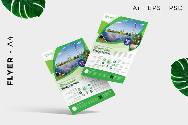 Eco Green Energy / Solar Cell Flyer Design