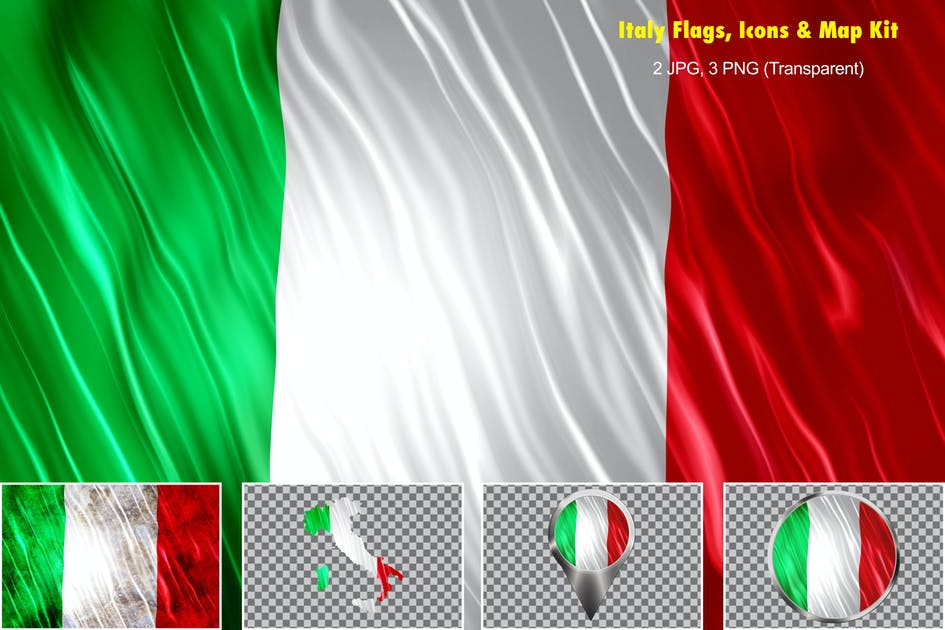 Download Italy Flags Icons Map Kit by StrokeVorkz