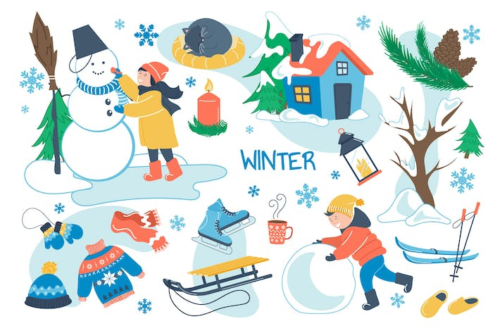 Winter Concept Isolated Elements Set