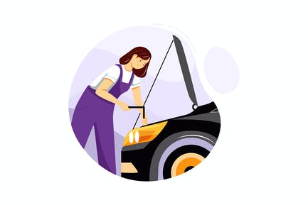Weibliche Mechaniker in weißem Hemd Reparatur Motor