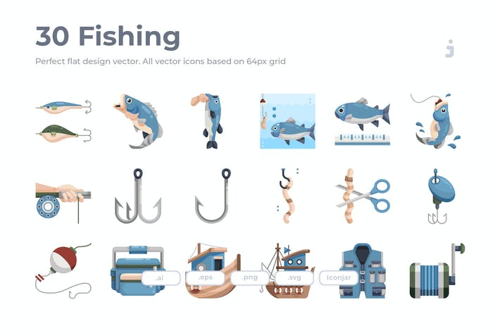 Thumbnail for 30 Fishing Icons - Flat
