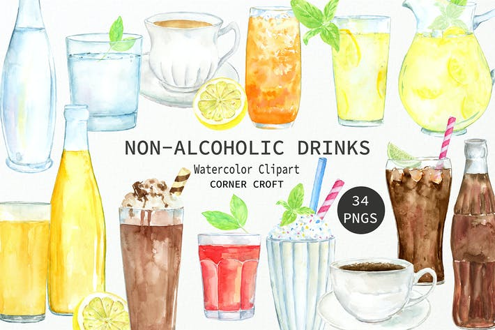 Thumbnail for Watercolor Clipart Non Alcoholic Drinks