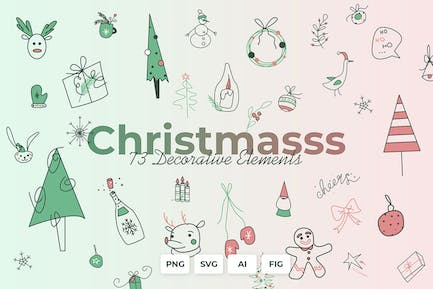Christmasss - Decor elements, Cards