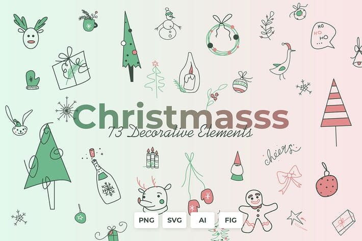 Thumbnail for Christmasss - Decor elements, Cards