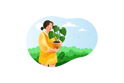 Girl carrying a pot of green plants