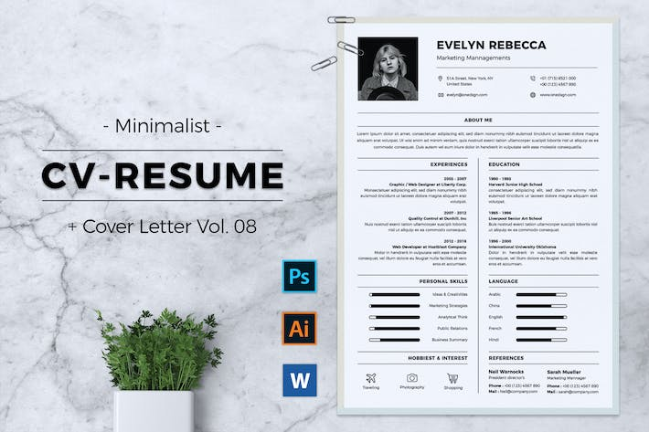 Thumbnail for Minimalist CV Resume Vol. 08