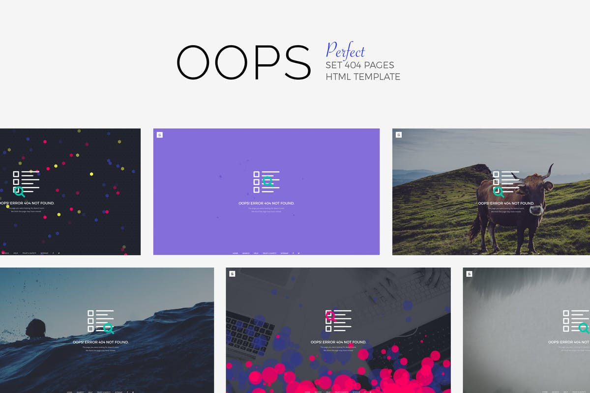 OOPS - Perfect 404 Pages Pack by Madeon08 on Envato Elements