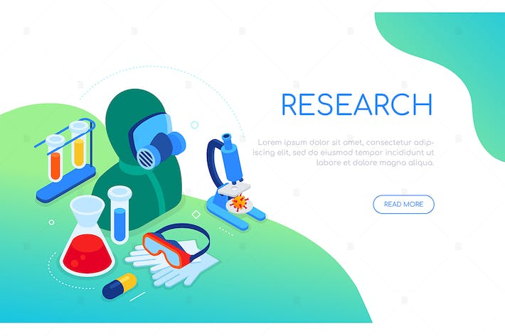 Thumbnail for Covid-19 and medical research - isometric banner