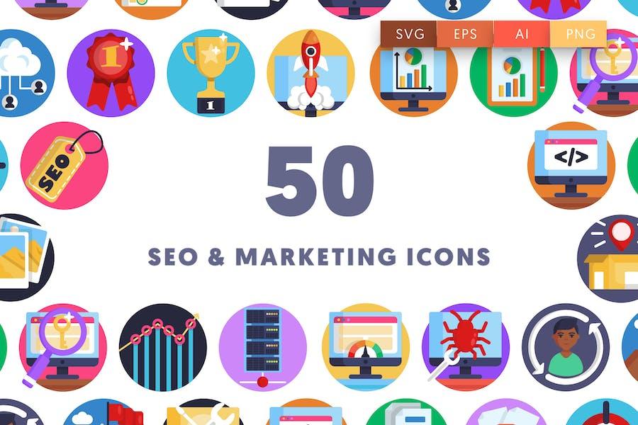 50 Íconos de SEO & Marketing