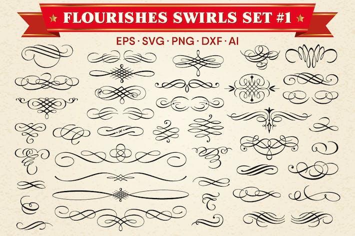 Dekorative Schnörkel Swirls Vektor Set #1