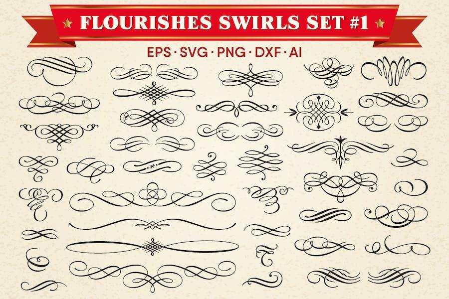 Decorative Flourishes Swirls Vector Set #1