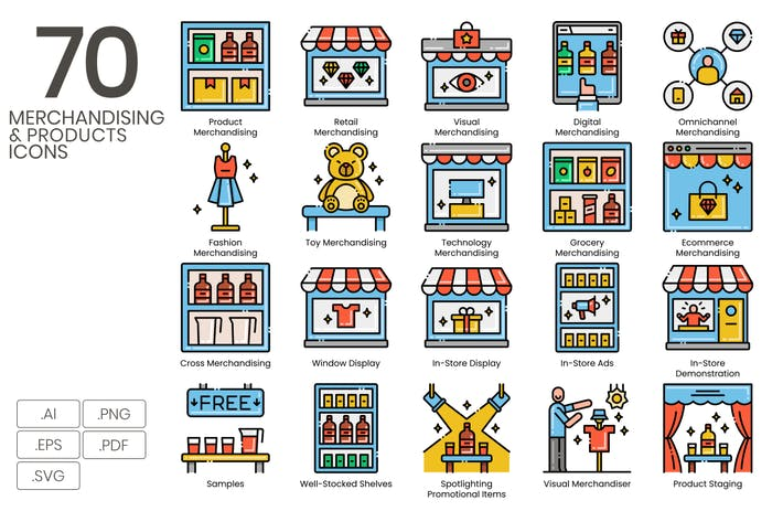 Thumbnail for 70 Merchandising & Products Line Icons