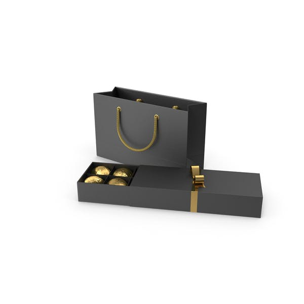 Black Gift Box with Chocolate and Paper Bag