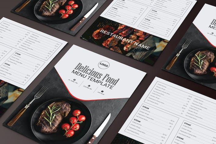 Thumbnail for Menü Köstliches Essen zweiseitige Menüliste Vorlage