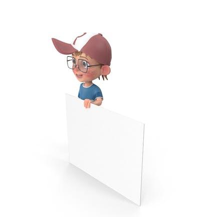 Cartoon Junge hält ein Zeichen