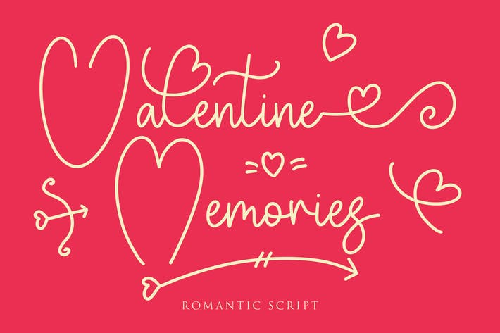 Thumbnail for Valentine Memories Romantic Font