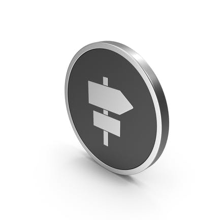Silver Icon Road Sign Post