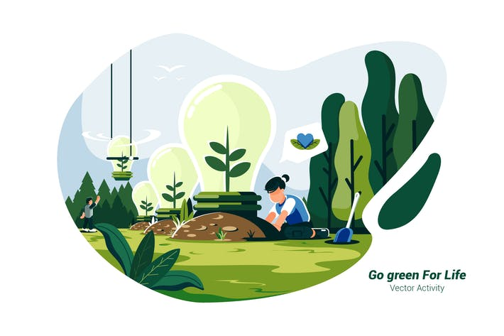 Thumbnail for Go green For Life - Vektor Illustration