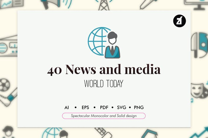 Thumbnail for 40 News elements in monocolor and solid design
