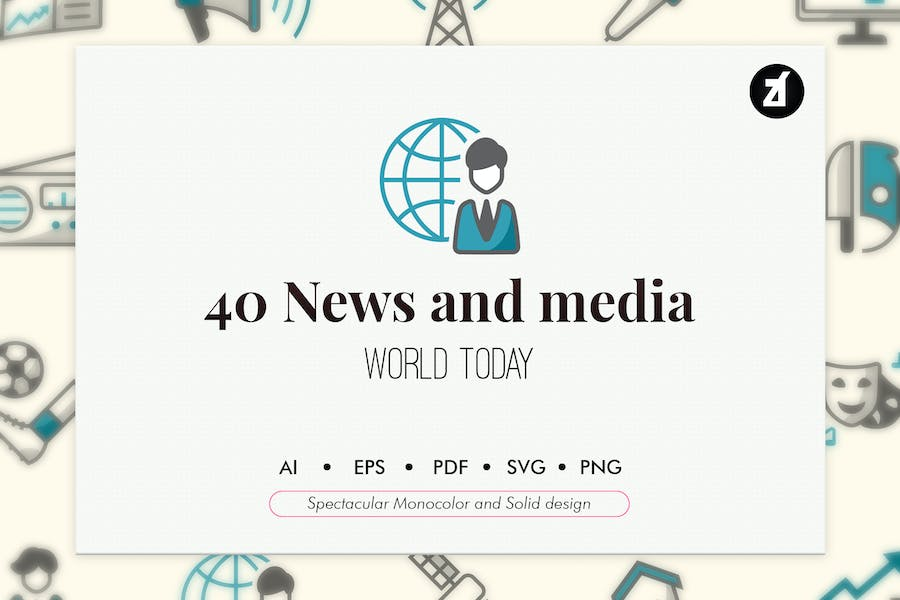 40 News elements in monocolor and solid design