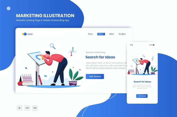 Thumbnail for Search for Ideas Flat Landing & Onboarding App