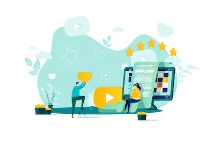 Blogging Flat Concept Vector Illustration