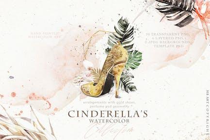 Cinderella's shoe watercolor