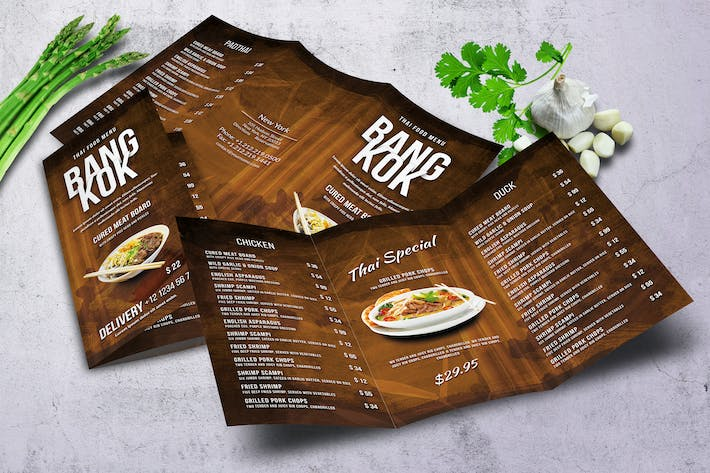 Thumbnail for Thai Trifold A4 and US Letter Menu
