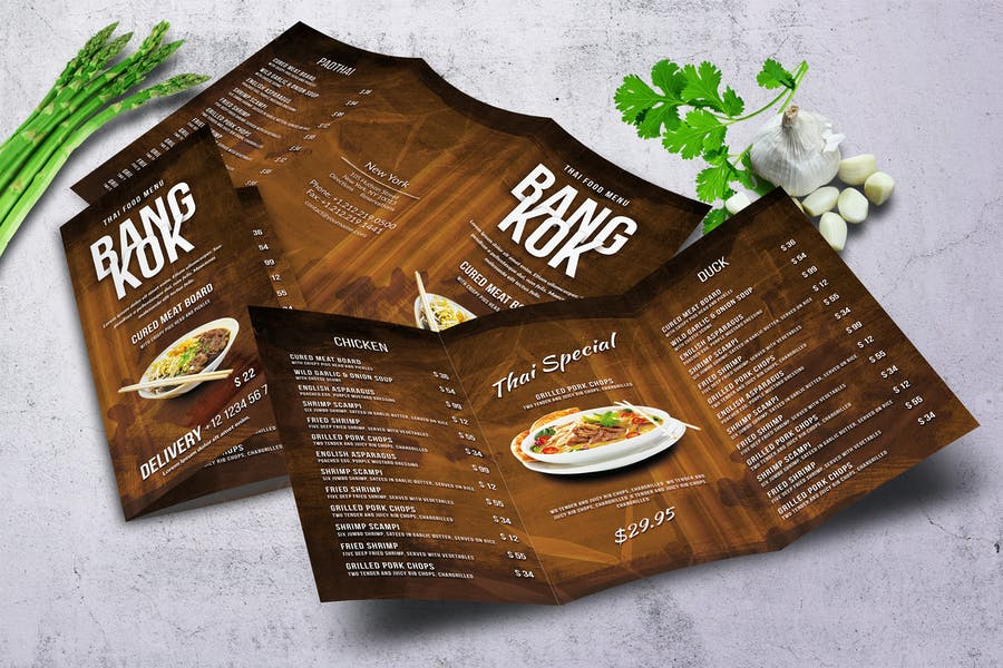 Thai Trifold A4 and US Letter Menu