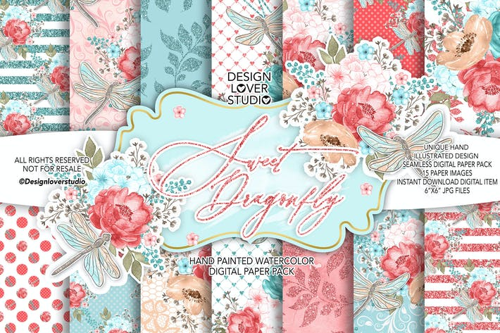 Thumbnail for Sweet dragonfly digital paper pack