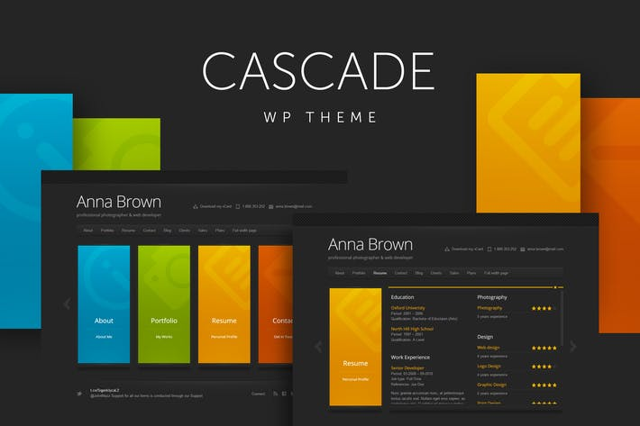 Thumbnail for Cascade - Personal vCard WordPress Theme