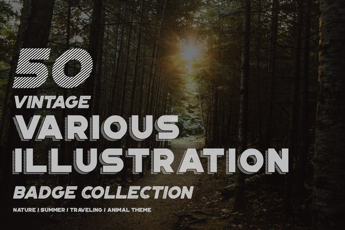 Thumbnail for 50 Vintage Various Illustration Badge Collection
