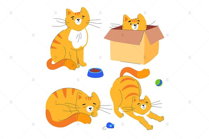 Thumbnail for Cute ginger cat - flat design style character set