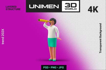 Businesswoman 3D Standing with Spyglass