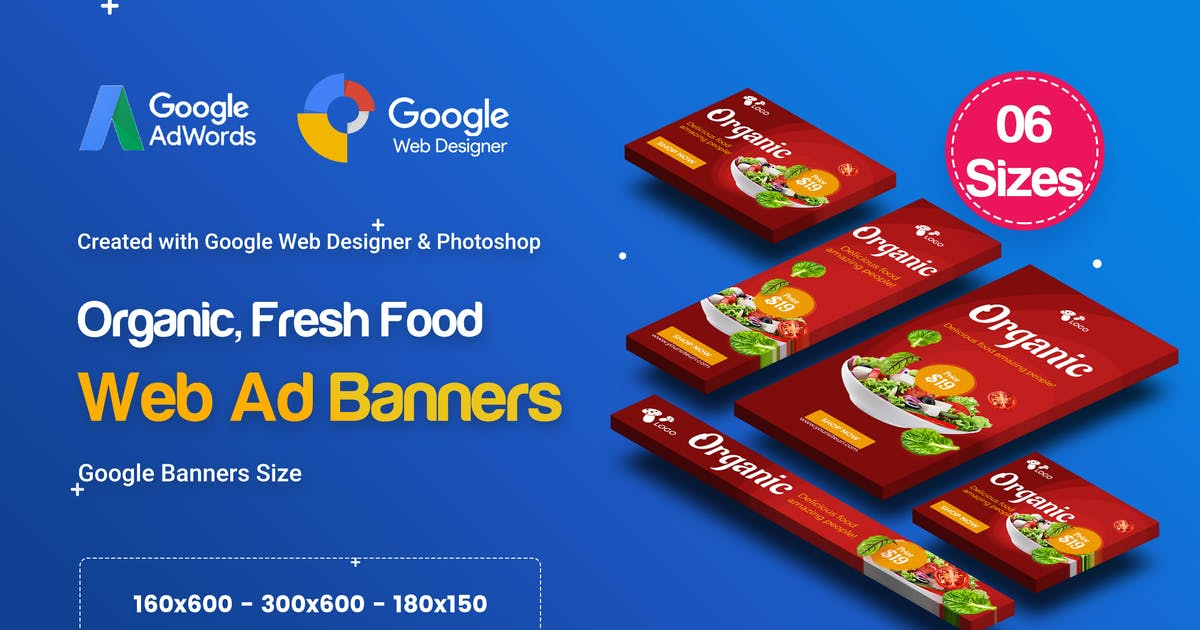 Download C52 - Organic, Fresh Food Banners GWD & PSD by iDoodle