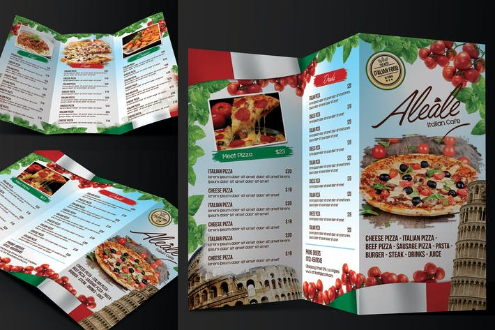 Thumbnail for Italian Food Menu Trifold