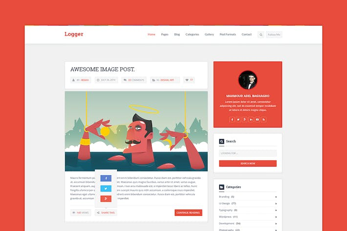Thumbnail for Logger – Flat Blog & Magazine PSD Template
