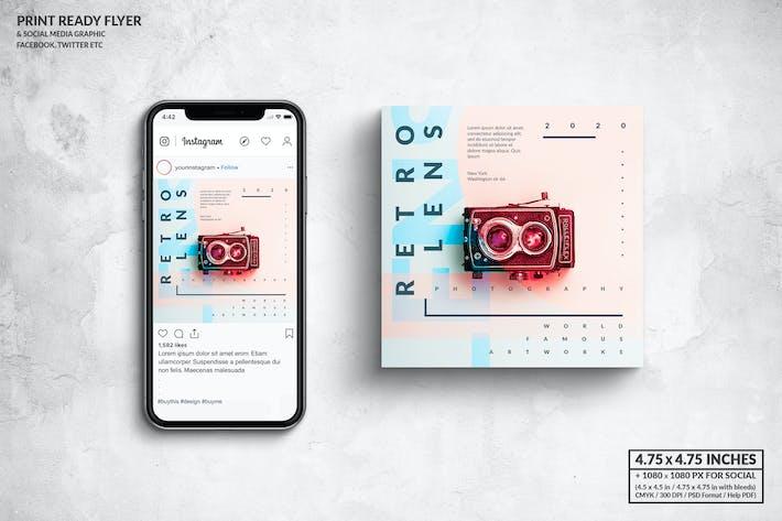 Thumbnail for Retro Lens Photo Square Flyer & Social Media