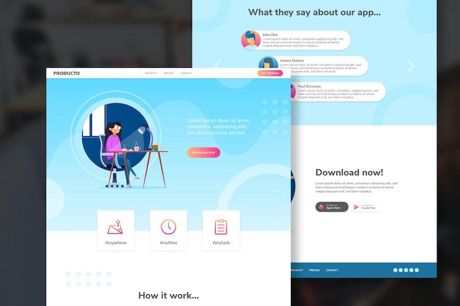 PRODUCTIVO Productivity App Homepage & Illustratio
