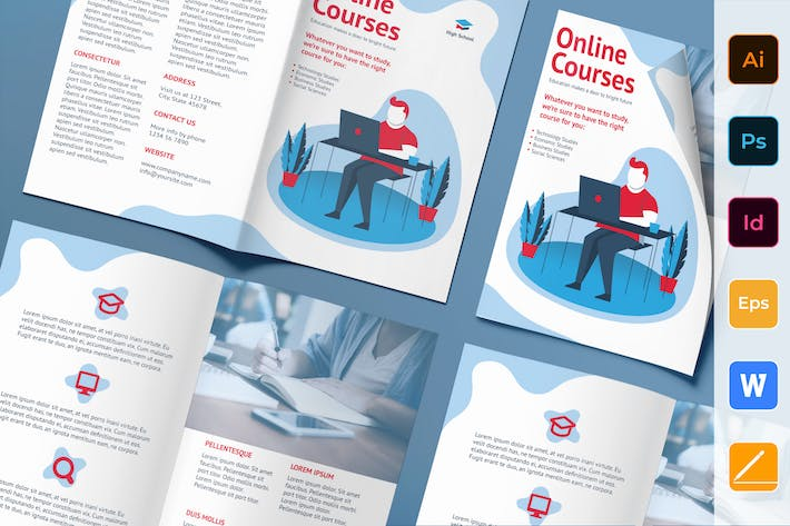 Thumbnail for Online Courses Brochure Bifold