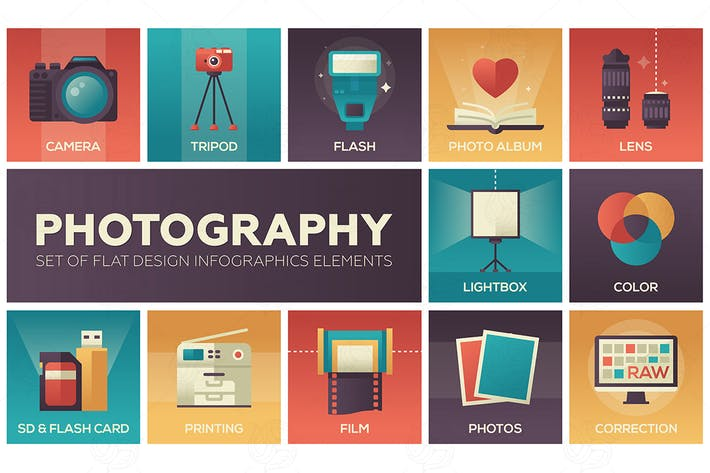 Thumbnail for Photography - set of flat design elements