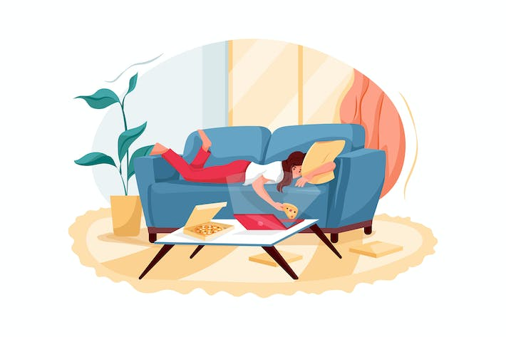 Thumbnail for Relaxed young woman lying on a sofa