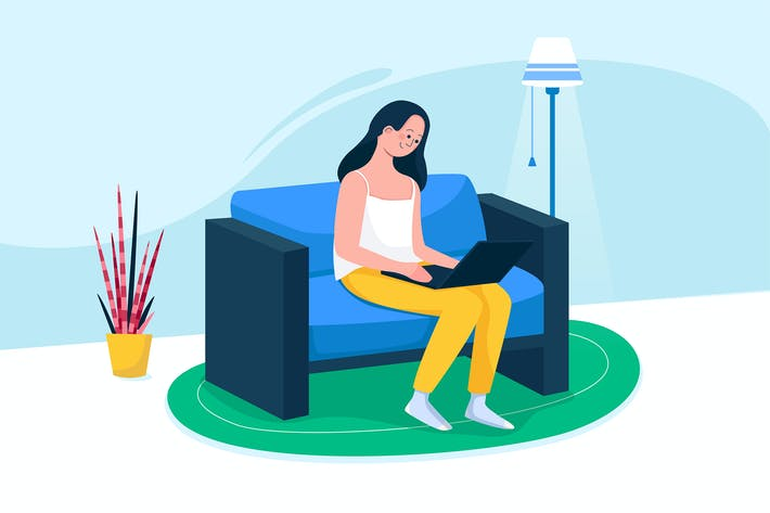 Thumbnail for Woman sitting on the sofa & working on the laptop