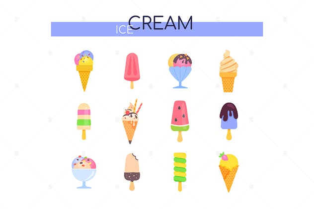 Types of ice cream - set of flat design elements - product preview 1