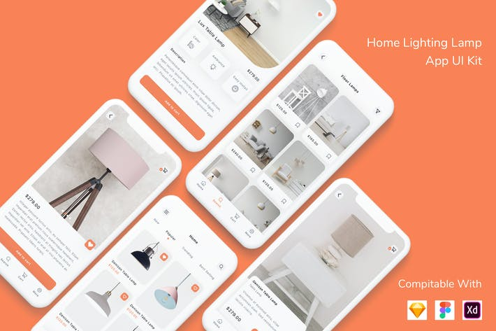 Thumbnail for Home Lighting Lamp App UI Kit