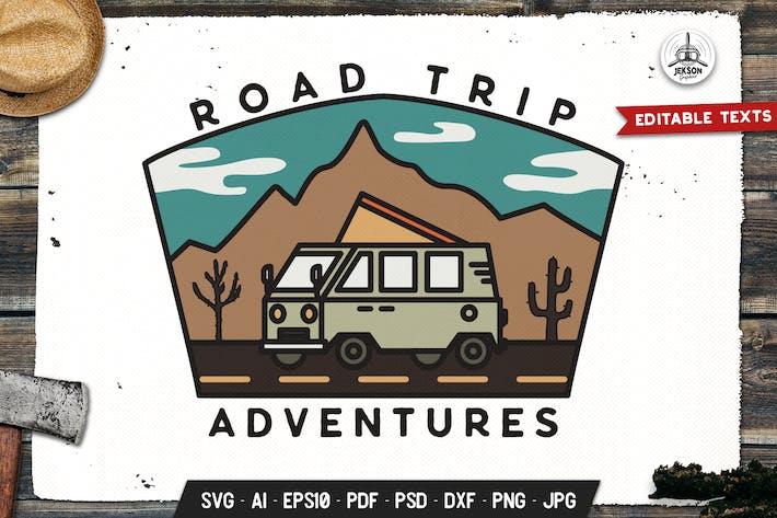 Thumbnail for Road Trip Badge, Vector Adventure Retro Graphic