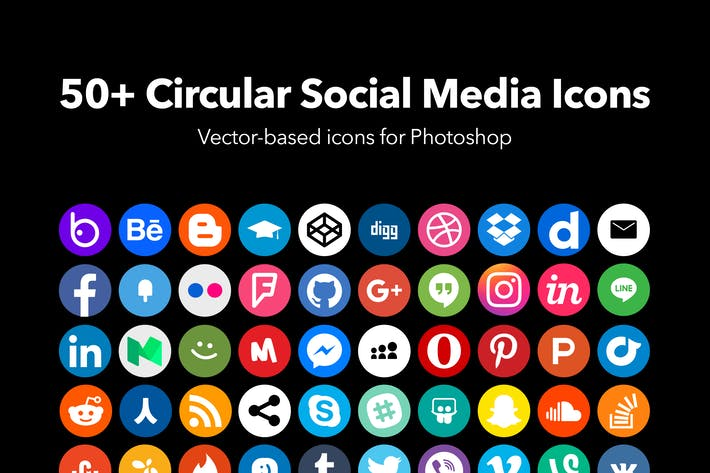 Thumbnail for 50+ Circular Flat Social Icons - PSD