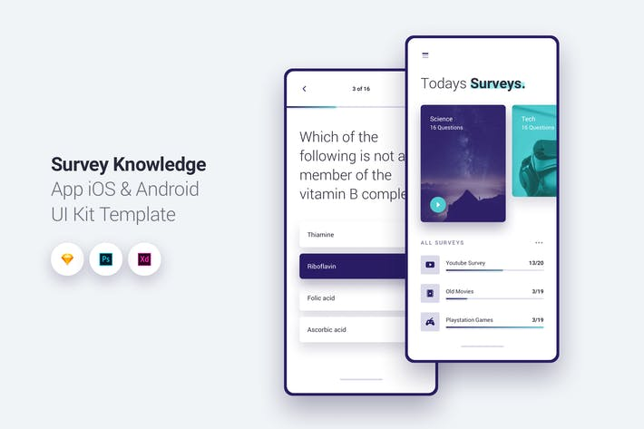 Thumbnail for Survey App iOS & Android UI Kit Template 1